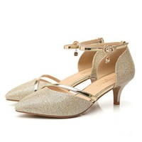 Women's Medium Heel Sparkly Prom Party Evening Shoes