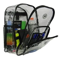 Praise Start 17 Deluxe 0.5 mm Super Heavy Duty Vinyl See Through PVC Clear Backpack With Black Trim
