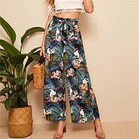 Frilled Waist Tropical Print Loose Long Palazzo Pants Women Mid Waist Wide Leg Ruffle Pants