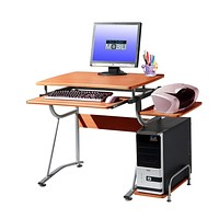 Compact Contemporary Computer Desk in Light Cherry Finish