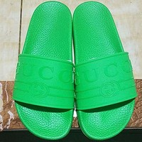 GUCCI summer counter new men and women with the same beach shoes slippers F-ALS-XZ green