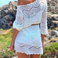 White Off Shoulder Long Sleeve Cut Out Cover-Up
