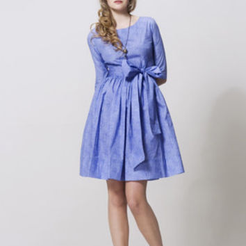 Blue cotton dress by Mrs Pomeranz