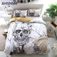 Cool AHSNME Ink Painting Skull Duvet Cover Sets White Floral Bedding Set Gentle Skeleton Comforter Cover Soft Fabric King QueenAT_93_12
