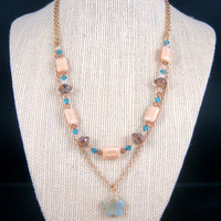 Necklace - Double Strand Necklace with Swarovski Crystals and Czech Glass Picasso Beads - Necklace for Girls - Flower Necklace
