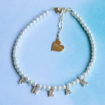 Pearl Custom Word Anklet