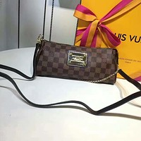 LV Louis Vuitton WOMEN'S MONOGRAM LEATHER EVA CHAIN SHOULDER BAG