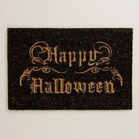 Black Happy Halloween Doormat