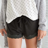Aerie Lace Hem Boxer, True Black