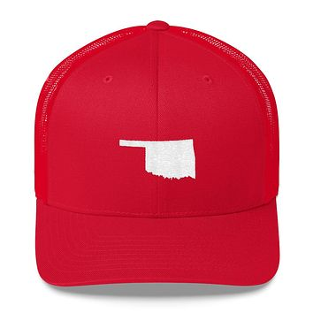 Oklahoma Embroidered State Shape Trucker Cap