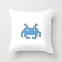 Blue Space Invader Throw Pillow by Project M   Society6