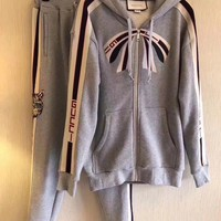 Gucci stripe zip up sweatshirt cotton jogging