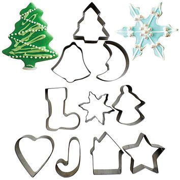 10Pcs/set Stainless Steel Cookies Cutter Mold Christmas Biscuit Fondant Mould Bakeware Moulds Set Cake Decoration Tools