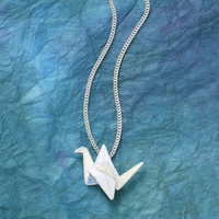 Sterling Cloisonne Origami Crane Pendant 18in - New Age, Spiritual Gifts, Yoga, Wicca, Gothic, Reiki, Celtic, Crystal, Tarot at Pyramid Collection