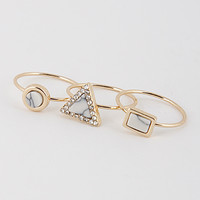 Gold and White Geo Ring Set