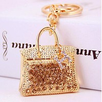 Hermes Stylish Creative Diamond H Letter Handbag Hanging Drop Car Key Chain Bag Accessories Golden