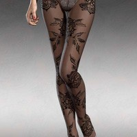 Baroque Floral Lace Sheer Full Tights