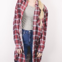 Vintage Red Burgundy Plaid Flannel Shirt