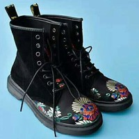On Sale Hot Deal Winter High Quality Embroider Casual Flat Shoes Anti-skid Boots G-AGG