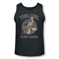 Wonder Woman This Girl Plays Rough Women's Charcoal Tank Top | ShopDCEntertainment.com