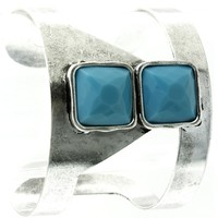 Turquoise Faceted Lucite Stone Metal Cuff Bracelet