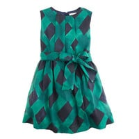 Girls' party dress in deep green plaid