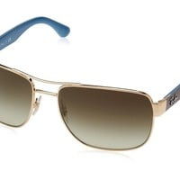 Ray-Ban Mens 0RB3530 Square Sunglasses Gold BrownGradient Top Chocolate &... New
