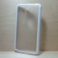Samsung Galaxy Note 3 Case Silicone Bumper and Translucent Frosted Hard Plastic Back - White