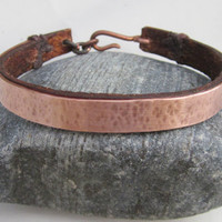Handmade Brown Leather and Hammered Copper Bracelet.