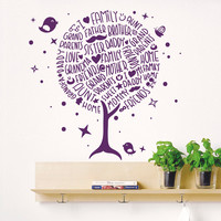 Wall Decal Tree Quote Silhouette Bird Decals Natural for Nursery Baby Room Living Children's Playroom Bedroom Vinyl Sticker Home Decor 3820