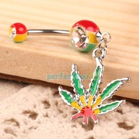 Maple Leaf Pendant Girl Belly Button Ring Piercing Jewelry        C#P5
