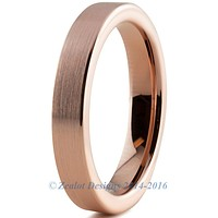 4mm Rose Gold Plated Brushed Pipe Cut