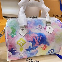 Louis Vuitton LV Monogram Canvas Women's Painted Handbag Shoulder Bag Pillow Bag