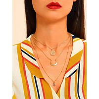 1pc Moon & Star Charm Layered Necklace