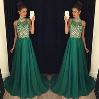 Sexy Beads Crystal Prom Dresses 2017 Backless Long Chiffon Formal Evening  Party Gowns