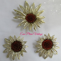 Starburst Pin Brooch Earrings Gold Tone Sarah Coventry Pendant Wine Red Topaz