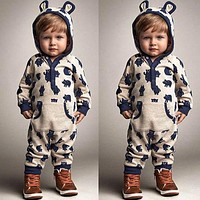 Baby Boys Girls Warm Infant Toddlers Jumpsuit Lovely Grey Bear Hooded Cotton Costumes