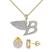 Luxury Car Logo B Pendant Chain Angel Wings 14k Gold Finish Cluster Earrings 9mm