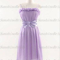 2014 New A-line Straps Sleeveless Knee-length Chiffon Sash Fashion Short Bridesmaid Dresses Prom Dresses Evening Dresses Party Dresses
