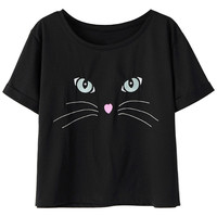 Black Cat Face Print  Short Sleeve GraphicTee