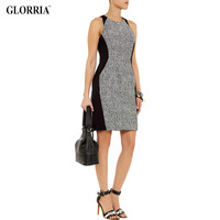 Glorria Women Summer Wear to Work Dress Gray Black Patchwork Clothes Office Lady Business Formal Sleeveless Tunic Sheath Dresses