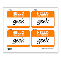 Geek Hello My Name Is - Sheet of 4 Stickers