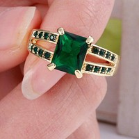 Green Emerald Gold Filled Ring Size 9