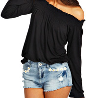 Casual Shirred Off Shoulder Tops