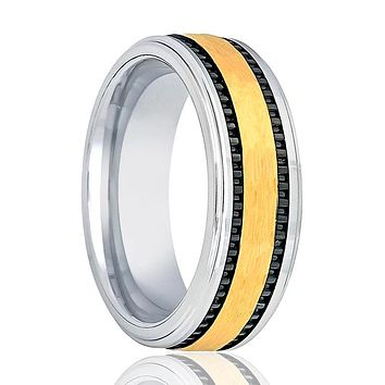 Tungsten Flat Wedding Band for Men with Gold Hammered Center and Two Off Set Black Stripe - 8MM