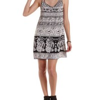 Floral & Paisley Print Strappy Shift Dress