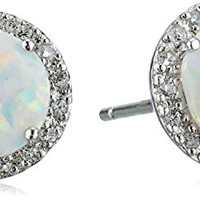 Sterling Silver Created Opal Round with Created White Sapphire Earrings