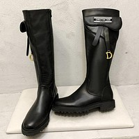 DIOR new trend solid color retro ladies high-top Martin boots Shoes