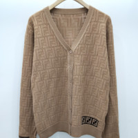 FENDI Fashion women's wear ice-linen double-curl thin sexy hollow knitted cardigan jacket