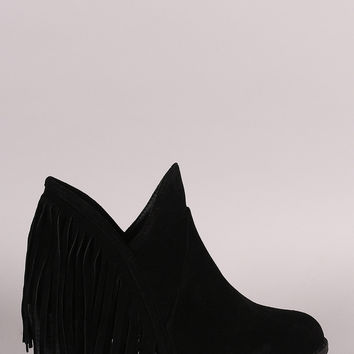Qupid Curved Rear Fringe Booties